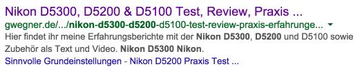 Google Suchergenis-Snippet mit Meta-Description