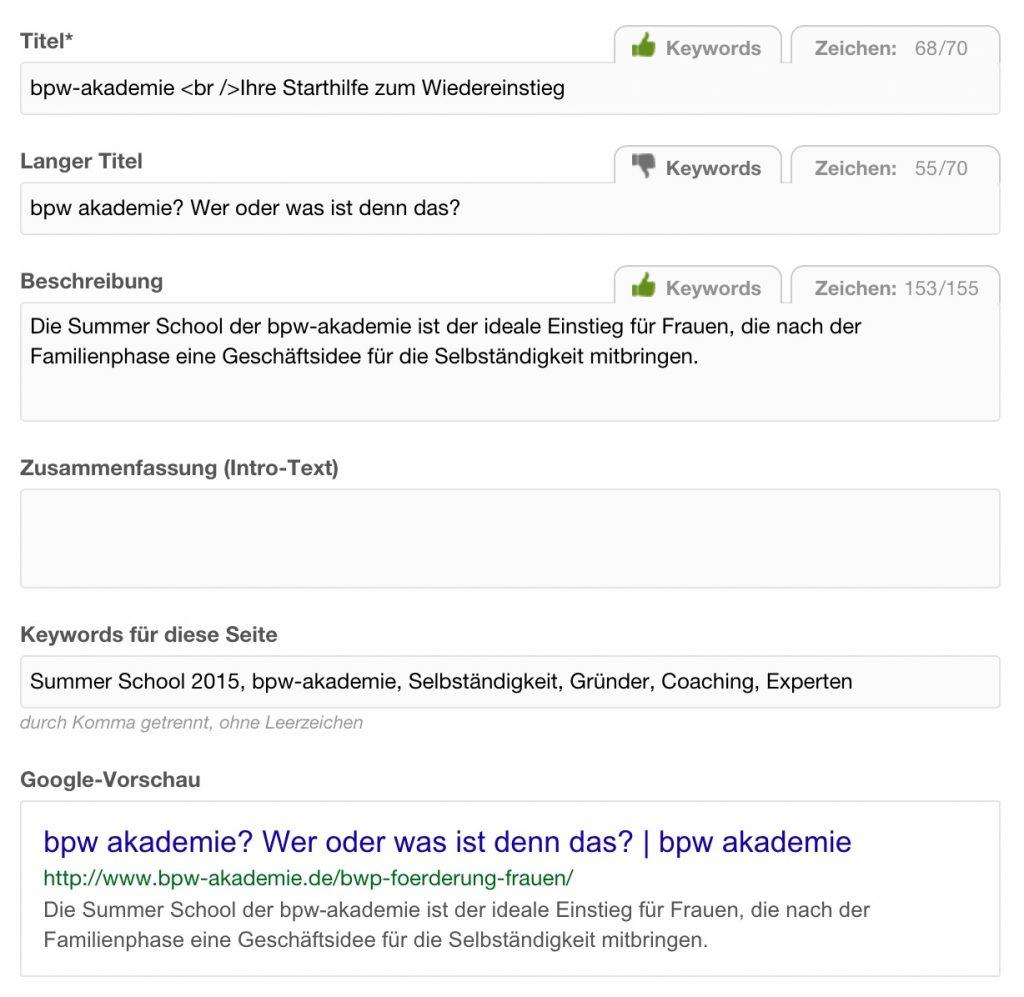 Google-Vorschau des Suchsnippets - MODX