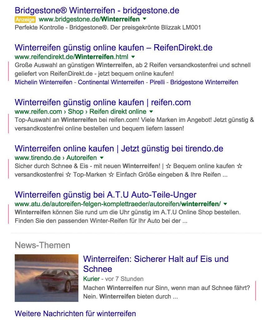 Google Suche nach Winterreifen