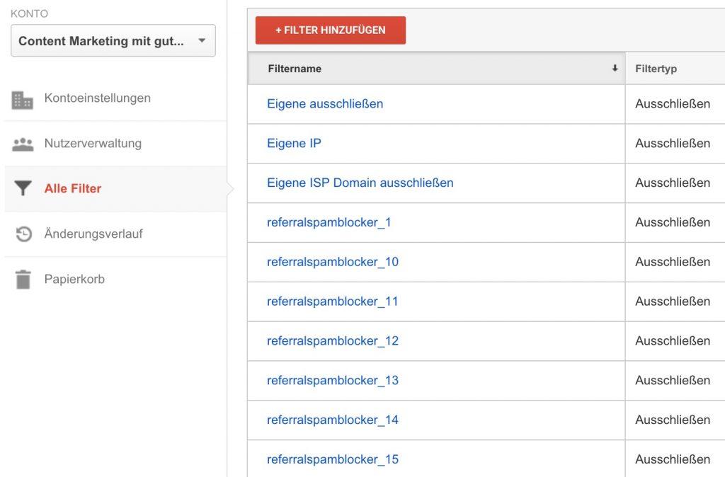 Filterlisten Referralspamblocker
