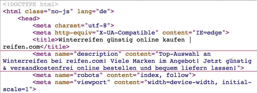 SEO-Hebel: Meta Description