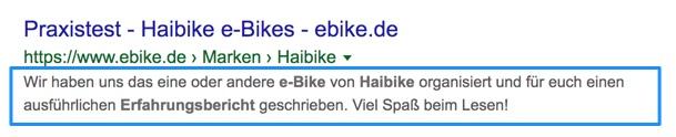 Meta-Beschreibung im Google Suchergebnis